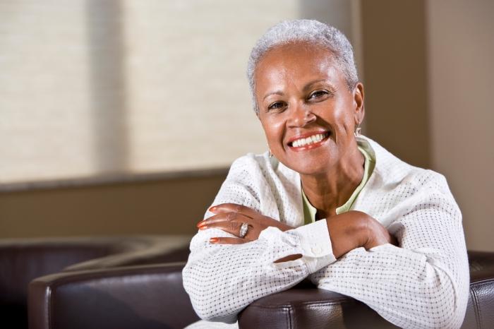 Portrait of senior African American woman smiling